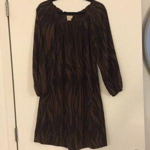 Michael Kors Silk Animal Print Shirt Dress